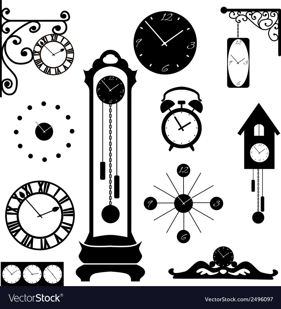Clock and watch collection black interior element