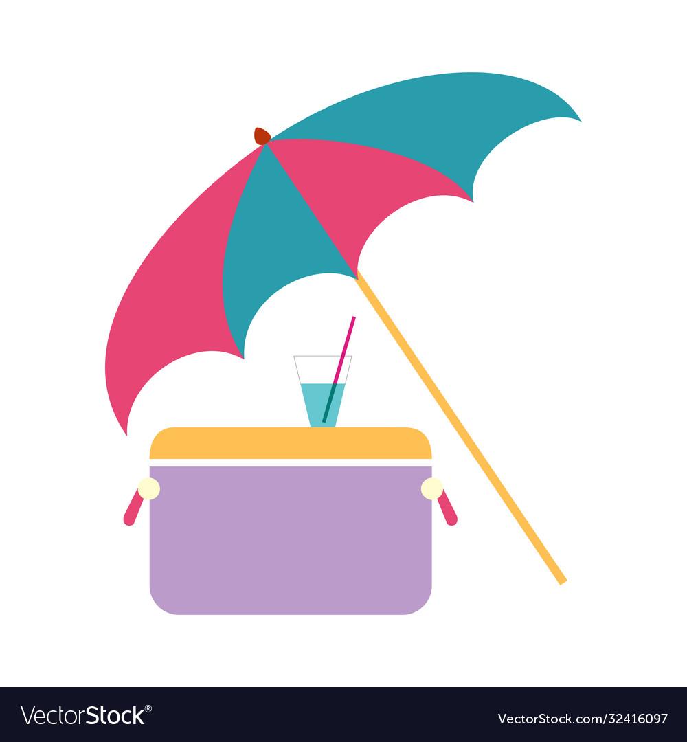 Concept sea vacation umbrella refrigerator and