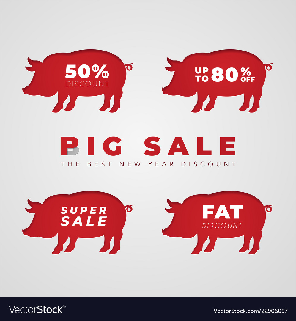 Cut out red pig in paper design isolated on white