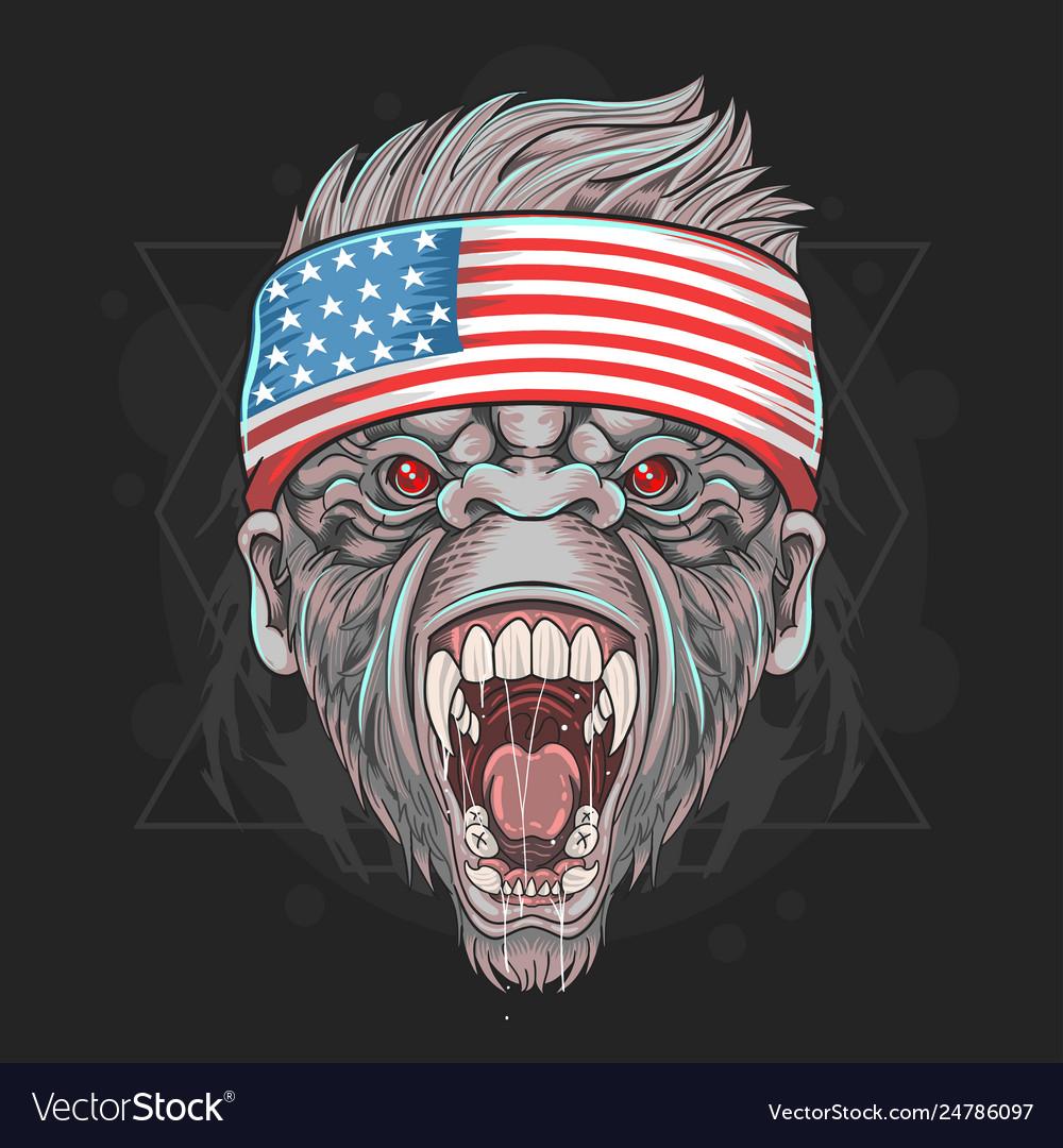 Gorilla head with usa flag bandana element