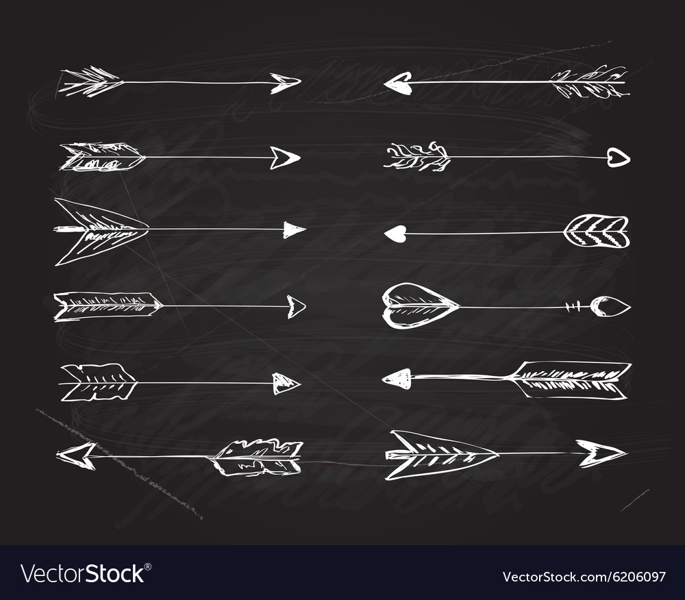 Hand-drawn arrows with feathers