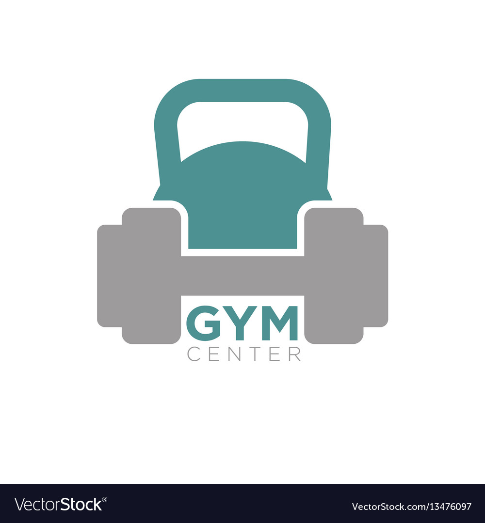 Heavy dumbbell and big kettlebell isolated on vector image