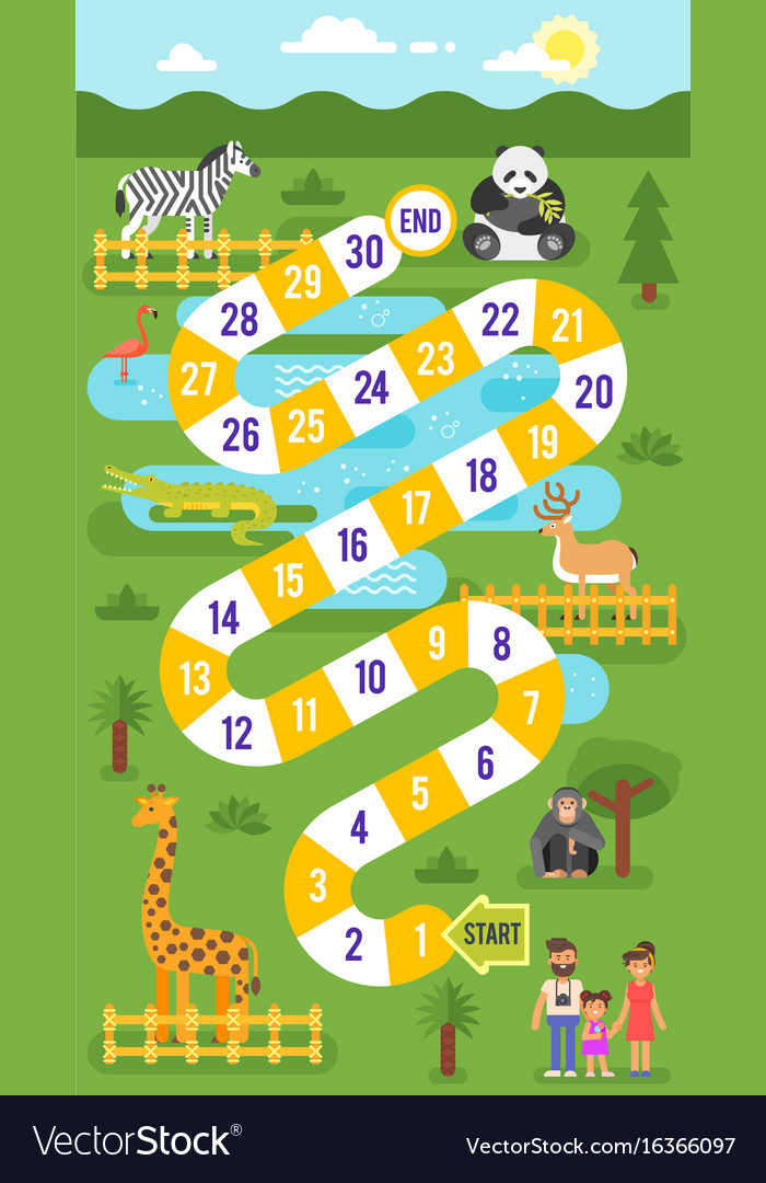 kids zoo animals board game template royalty free vector