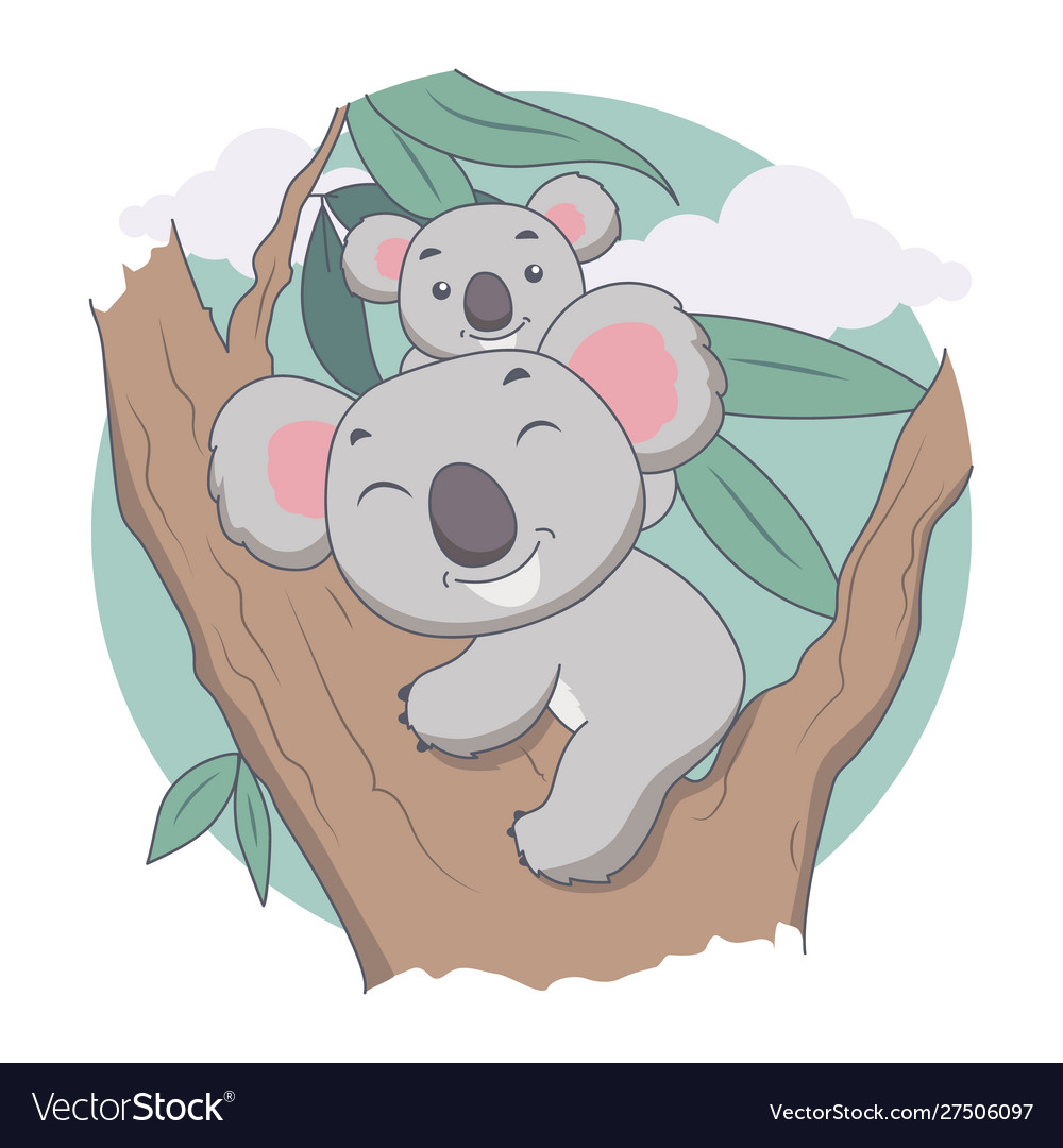 Koala and mother in tree animal tree and leave