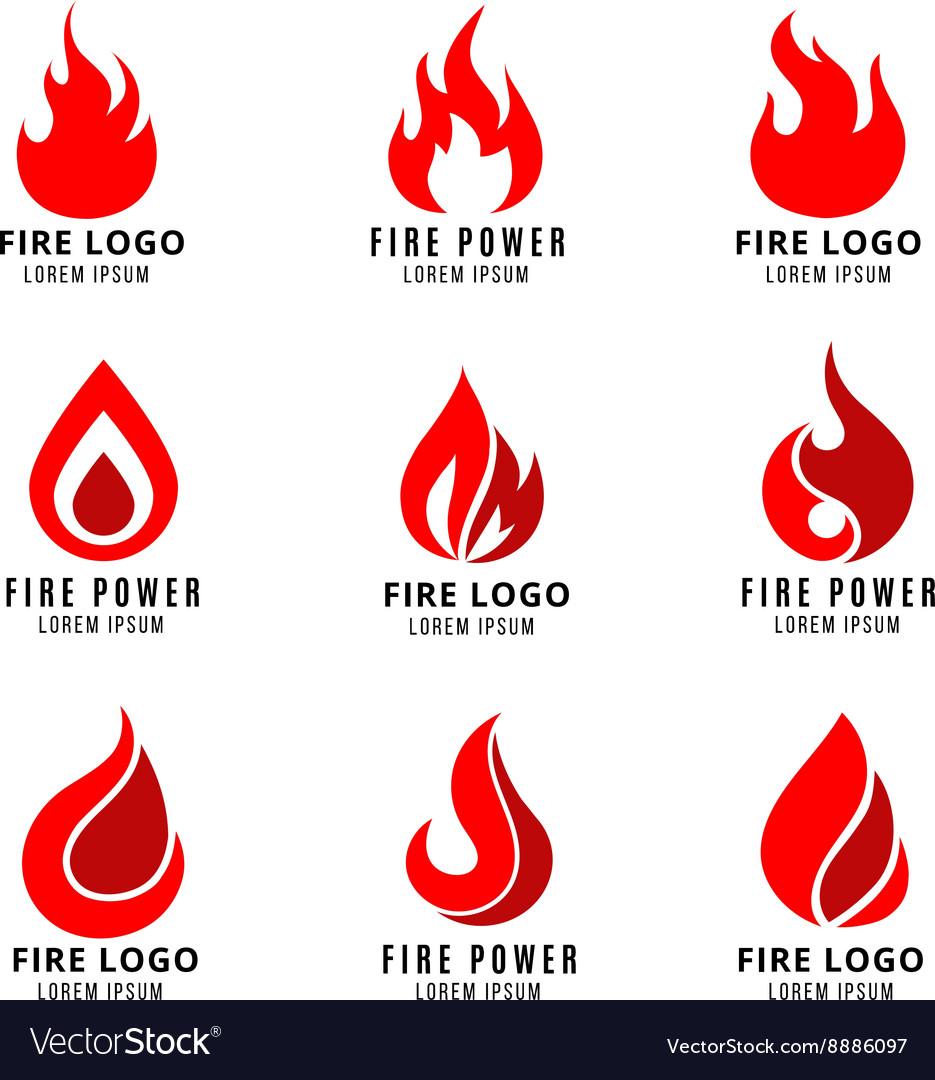 Logo set with fire symbols vector image