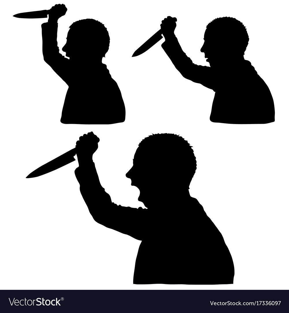 Man silhouette with knife in hand set