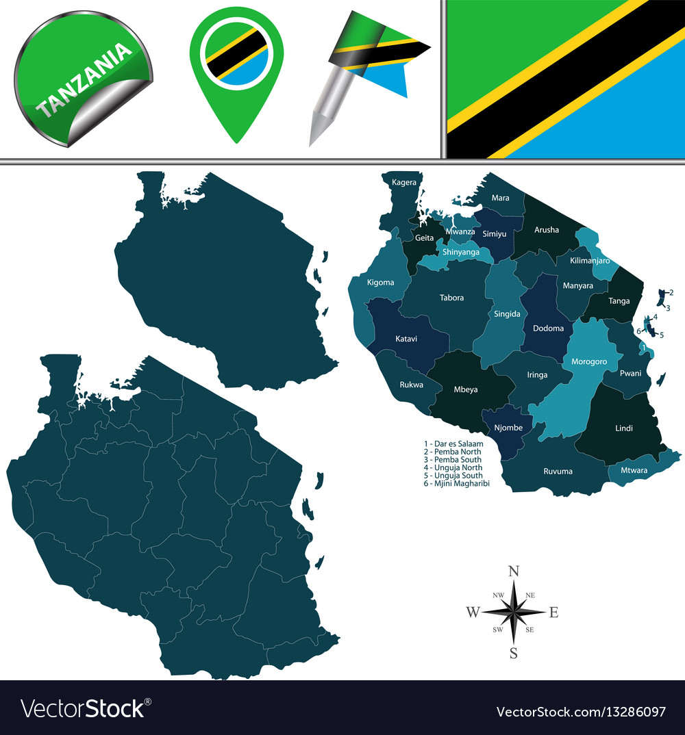 Map of tanzania with named regions Royalty Free Vector Image