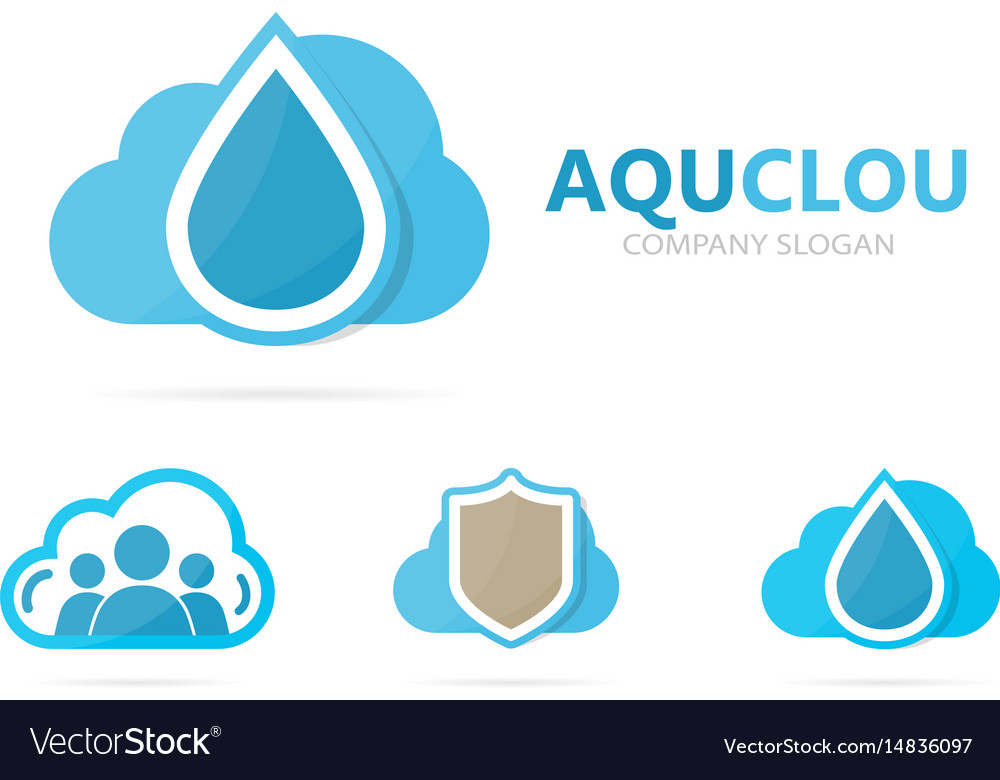 Oil and cloud logo combination drop and vector image