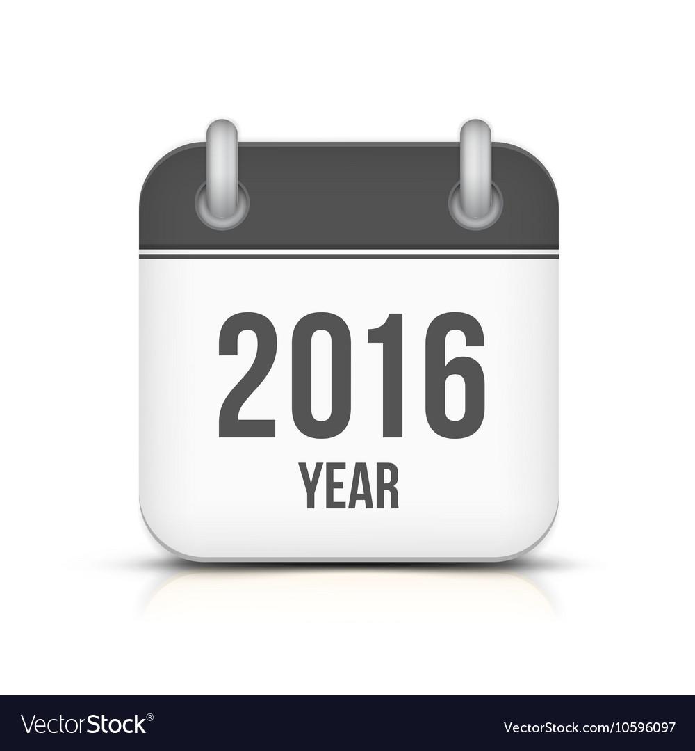 Old year 2016 monochrome calendar icon