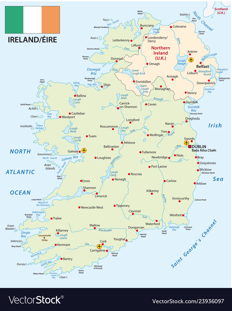 High Quality Map Of Ireland.Republic Of Ireland Map With Flag