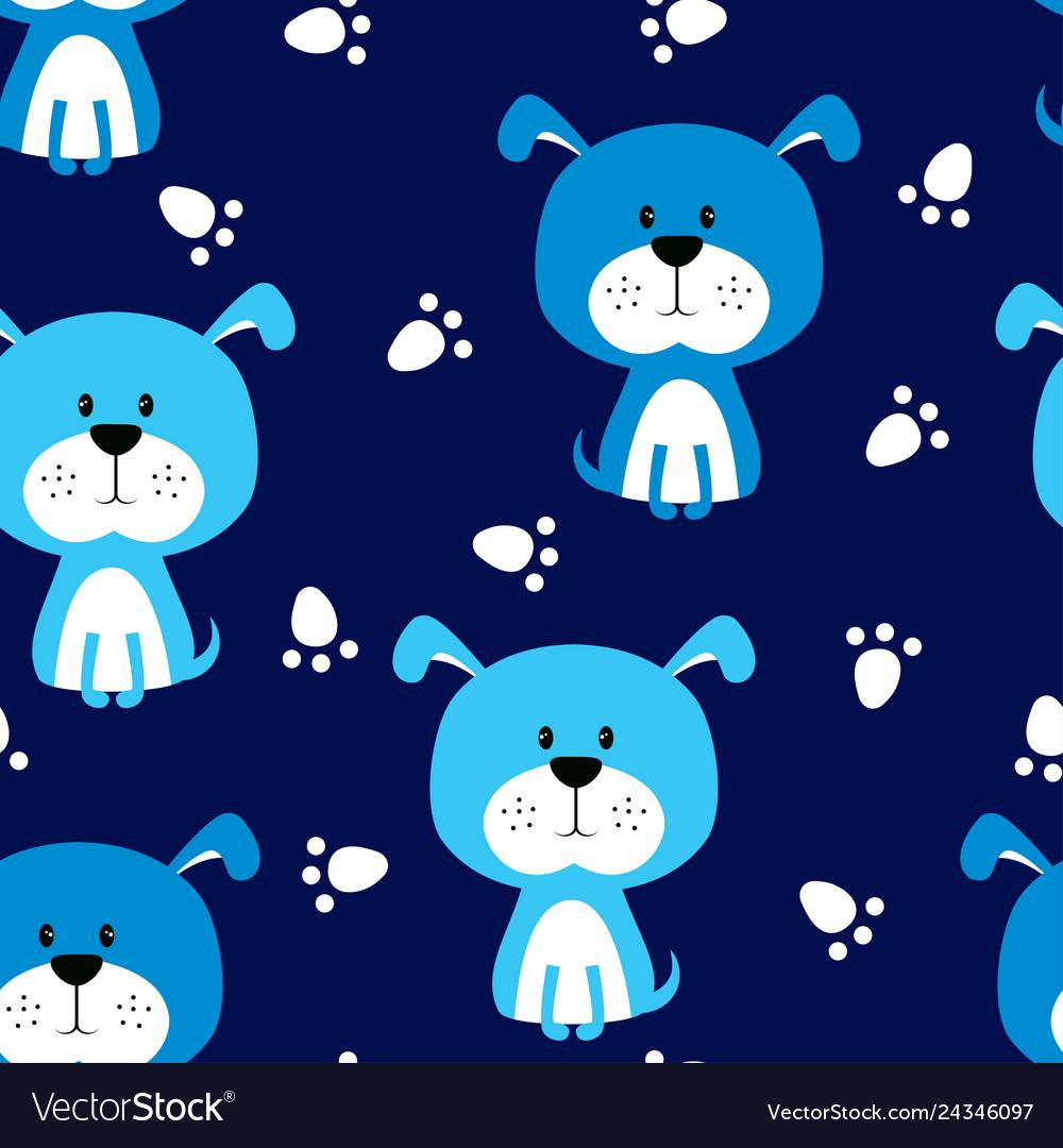 Seamless blue dog pattern