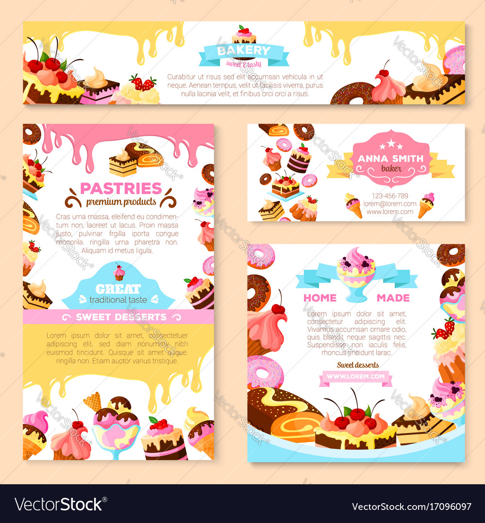 Templates of bakery shop or cafe patisserie