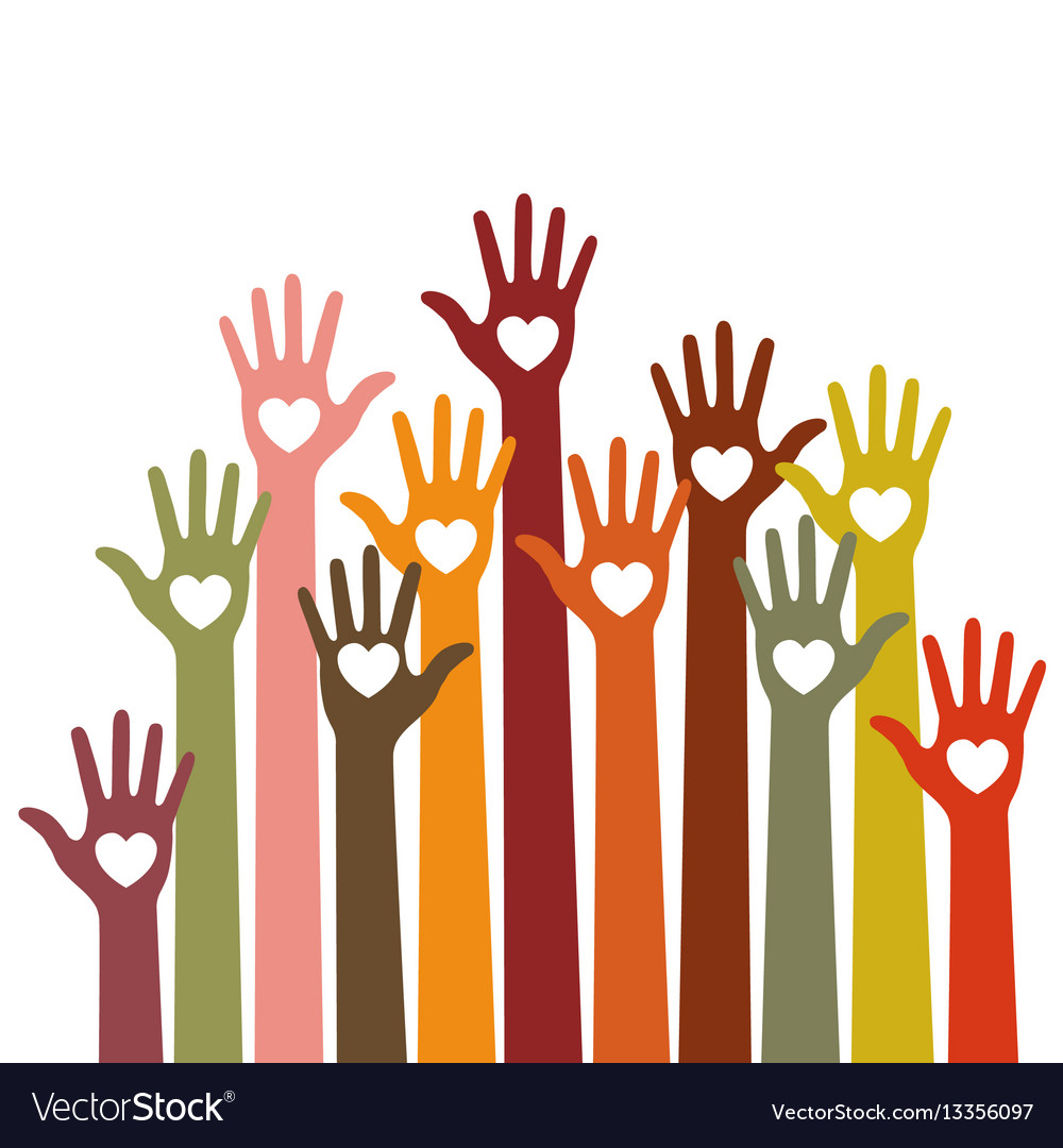 Volunteers colorful caring up hands with hearts
