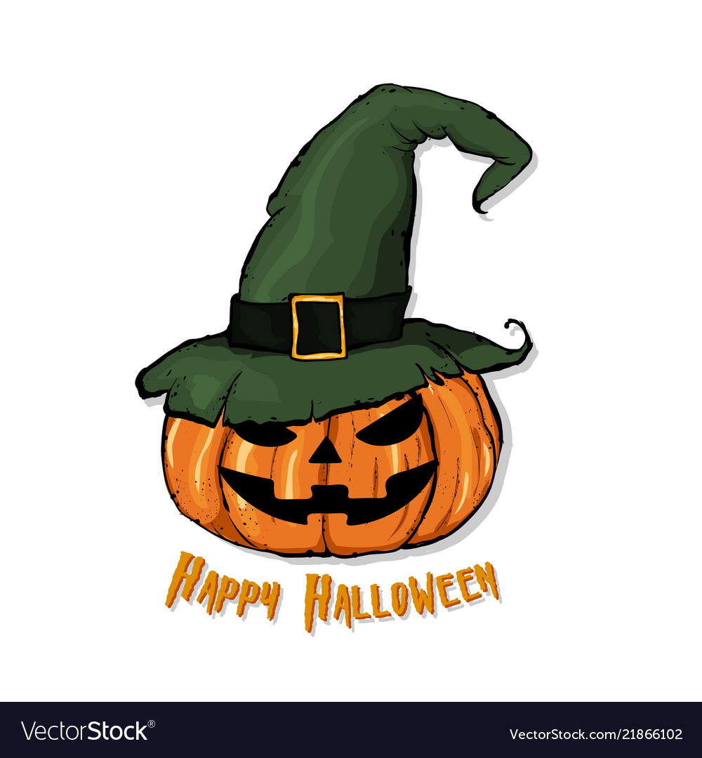 An of a cartoon pumpkin in witch hat happy