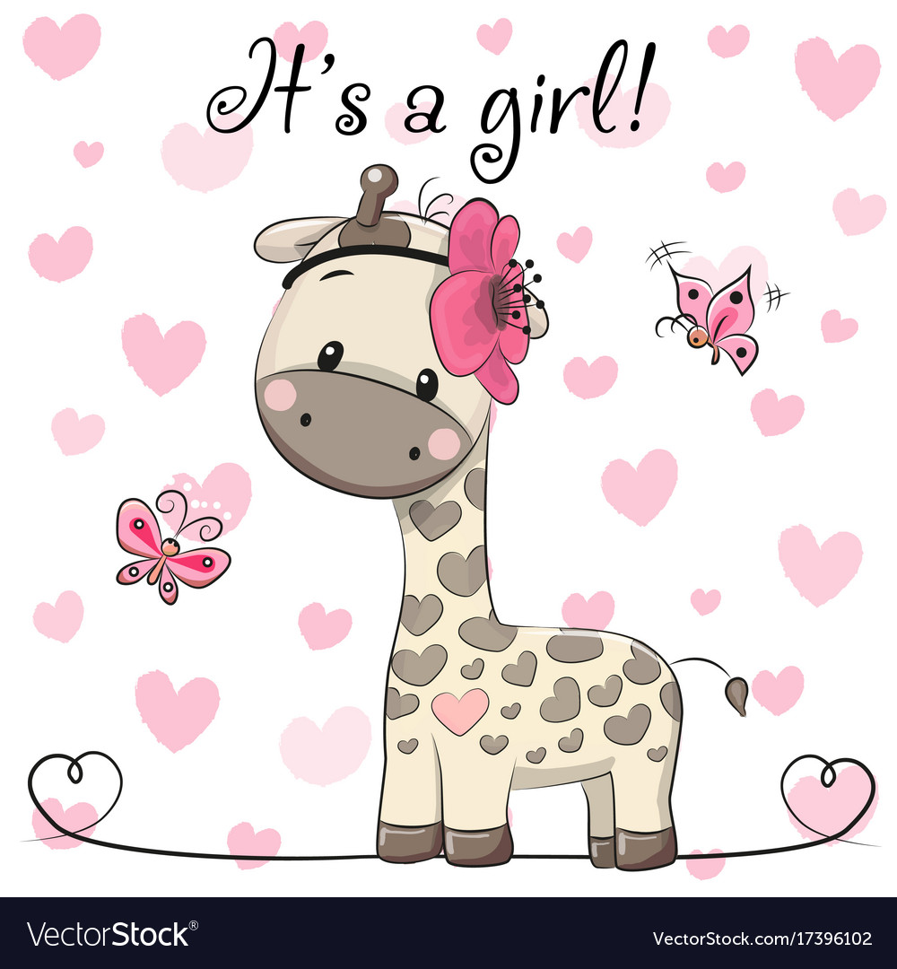 Baby shower greeting card with giraffe girl vector image m4hsunfo