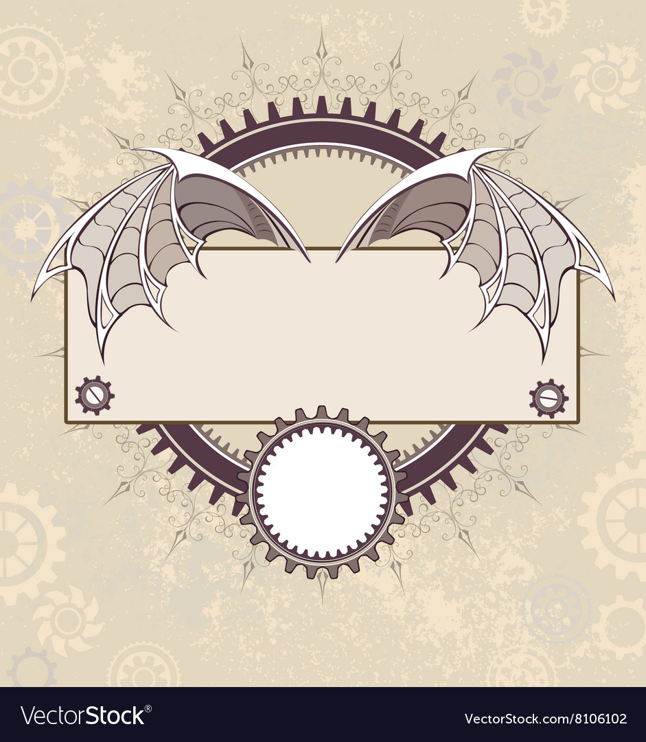 Banner with a Mechanical Dragon Wings vector image