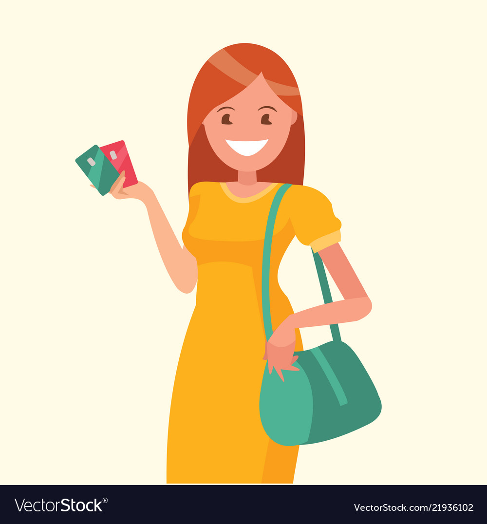 Beautiful woman holding a credit card in her hand