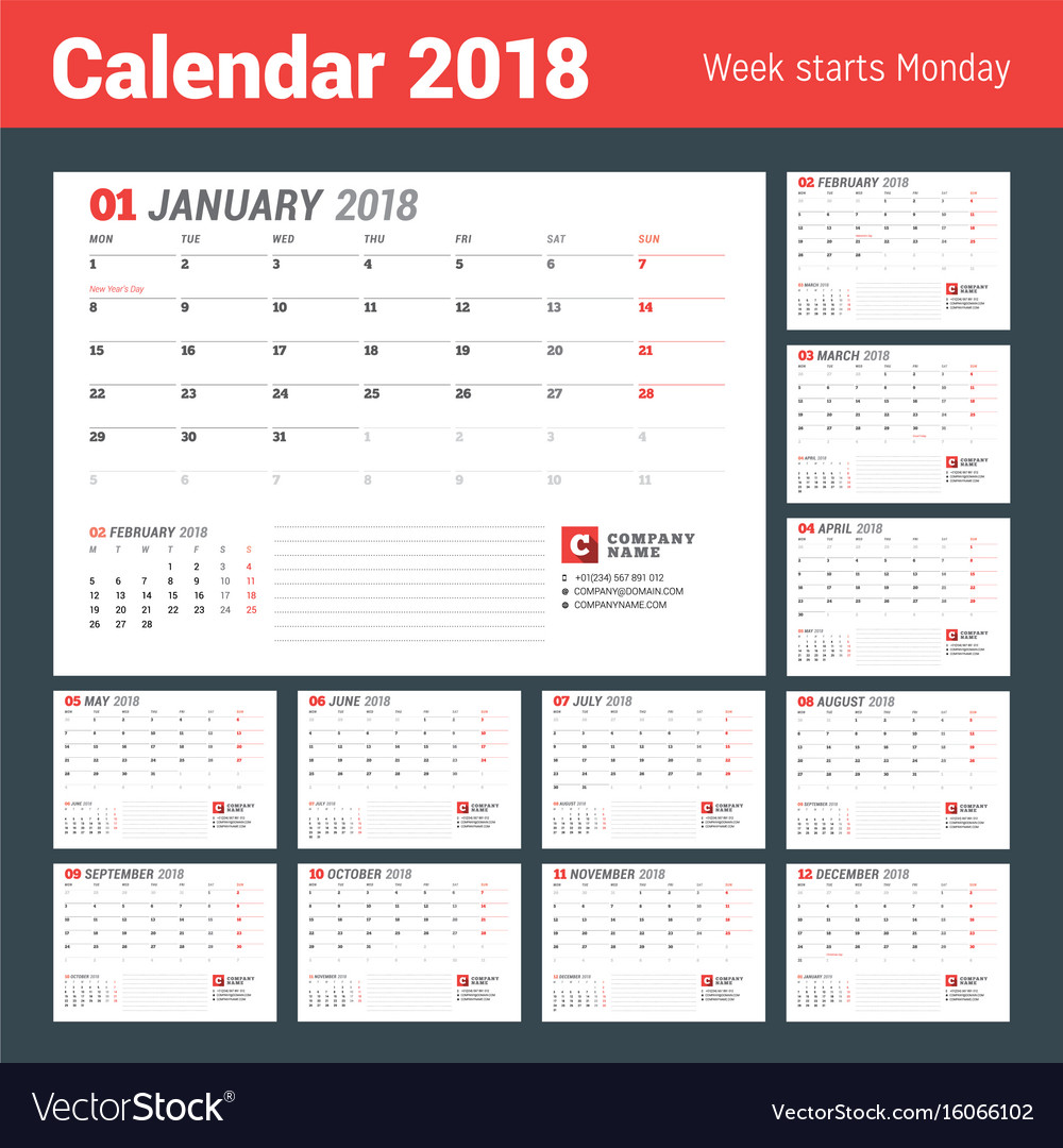 Calendar template for 2017 year business planner