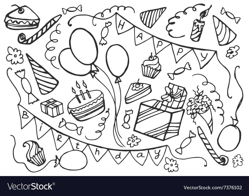 Doodle set of happy birthday