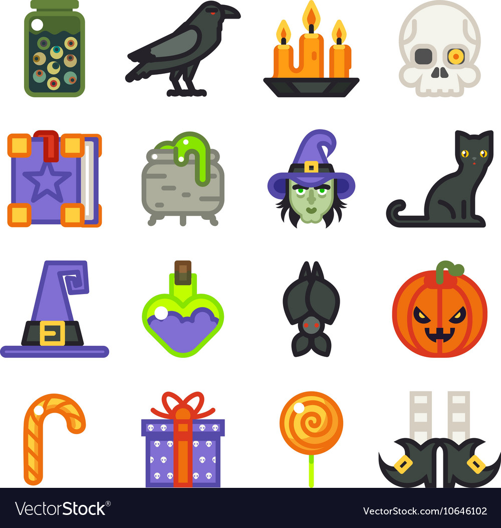 Halloween witch magic icons set isolated flat