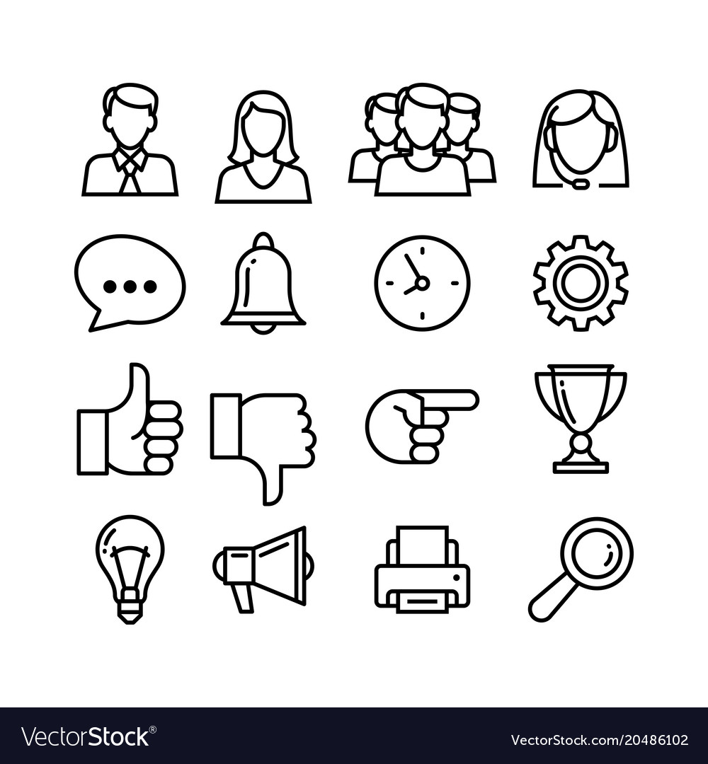 Line icons set for business