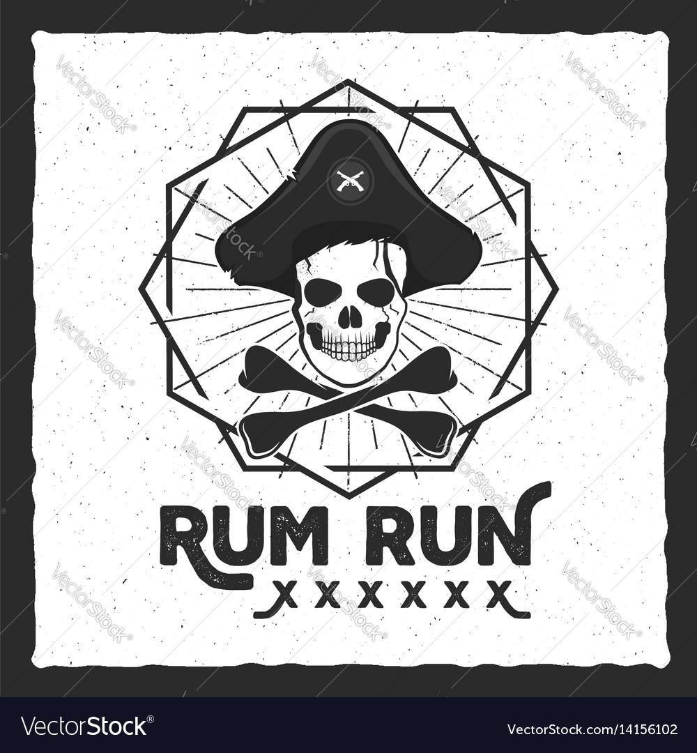 Pirate skull insignia poster rum label design vector image