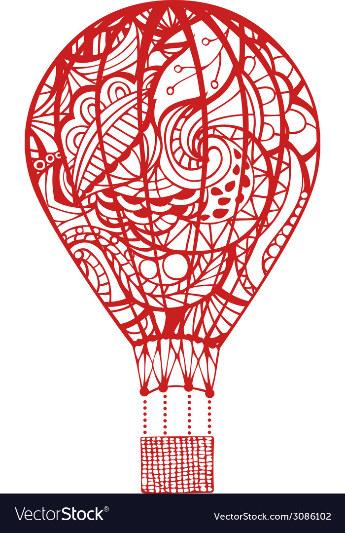 Red hot air balloon isolated on white background vector image