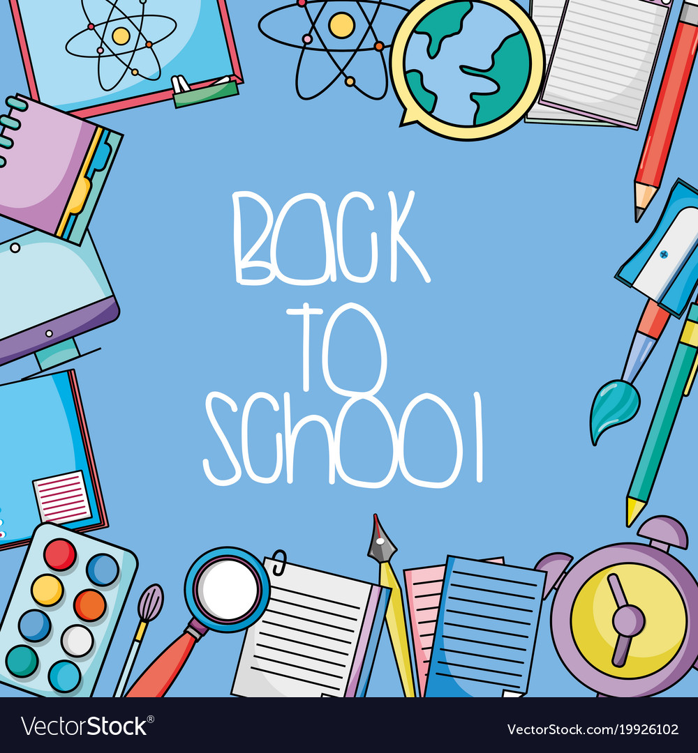 School utensils design to back class background Vector Image