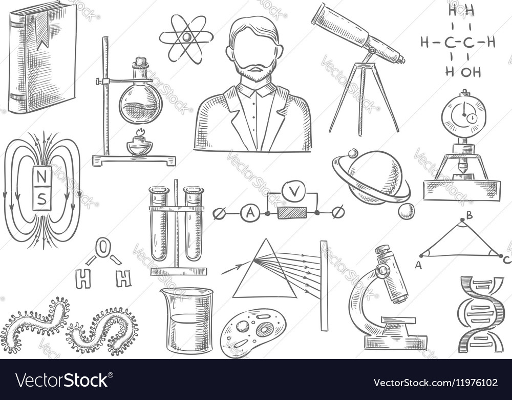 Scientific items sketch isolated icons