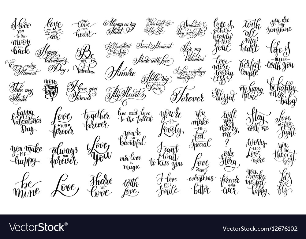 Set of 57 black and white hand written lettering