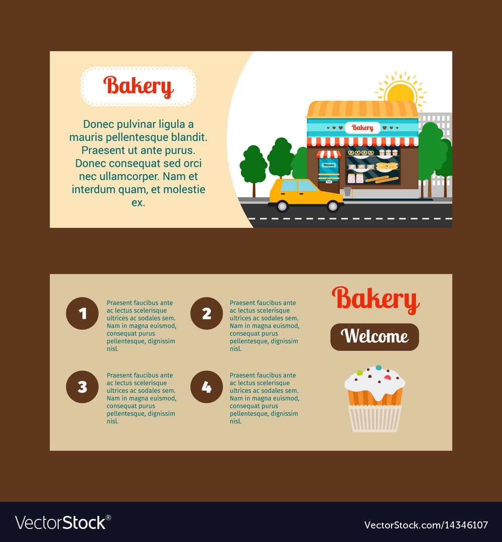 Bakery horizontal flyers with shop building