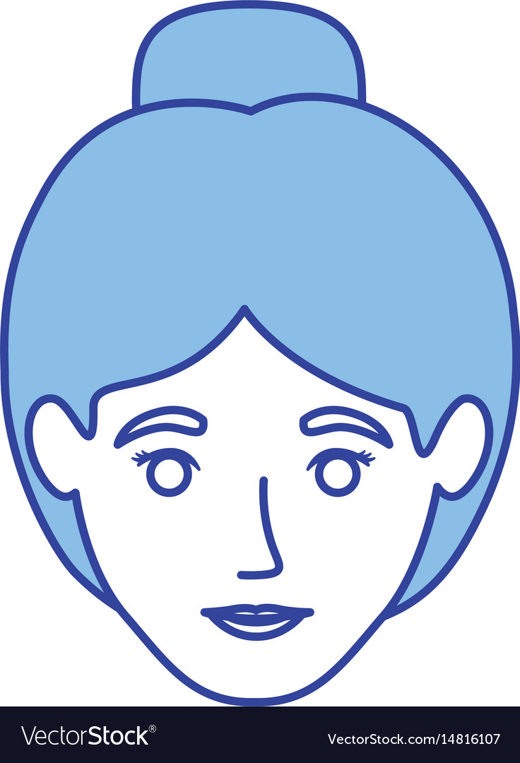 Blue silhouette of woman with collected hair