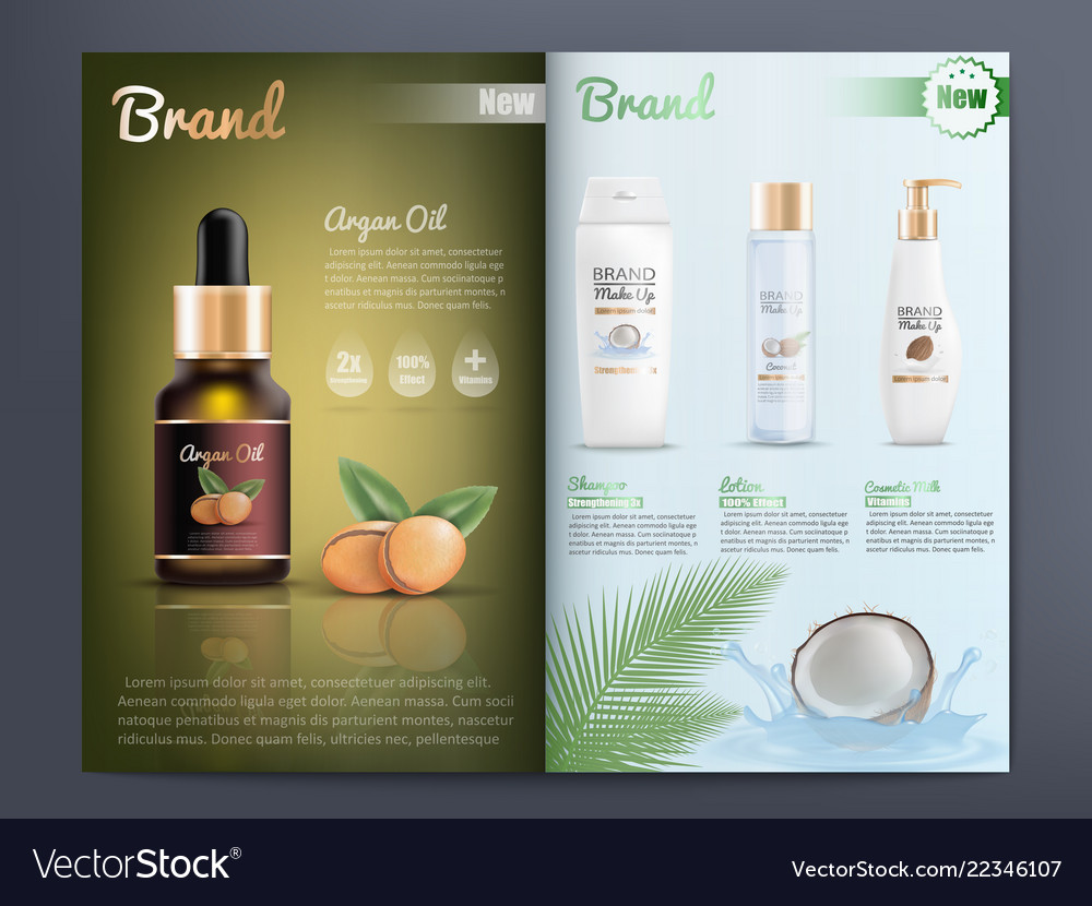 Product Brochure Template | Cosmetics Products Catalog Or Brochure Template Vector Image