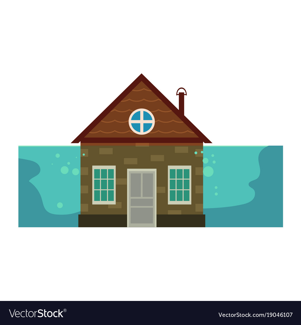 Cottage house under water flood insurance icon