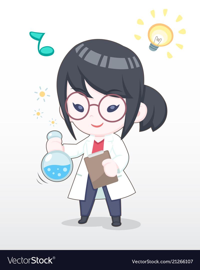 Cute style happy scientist girl