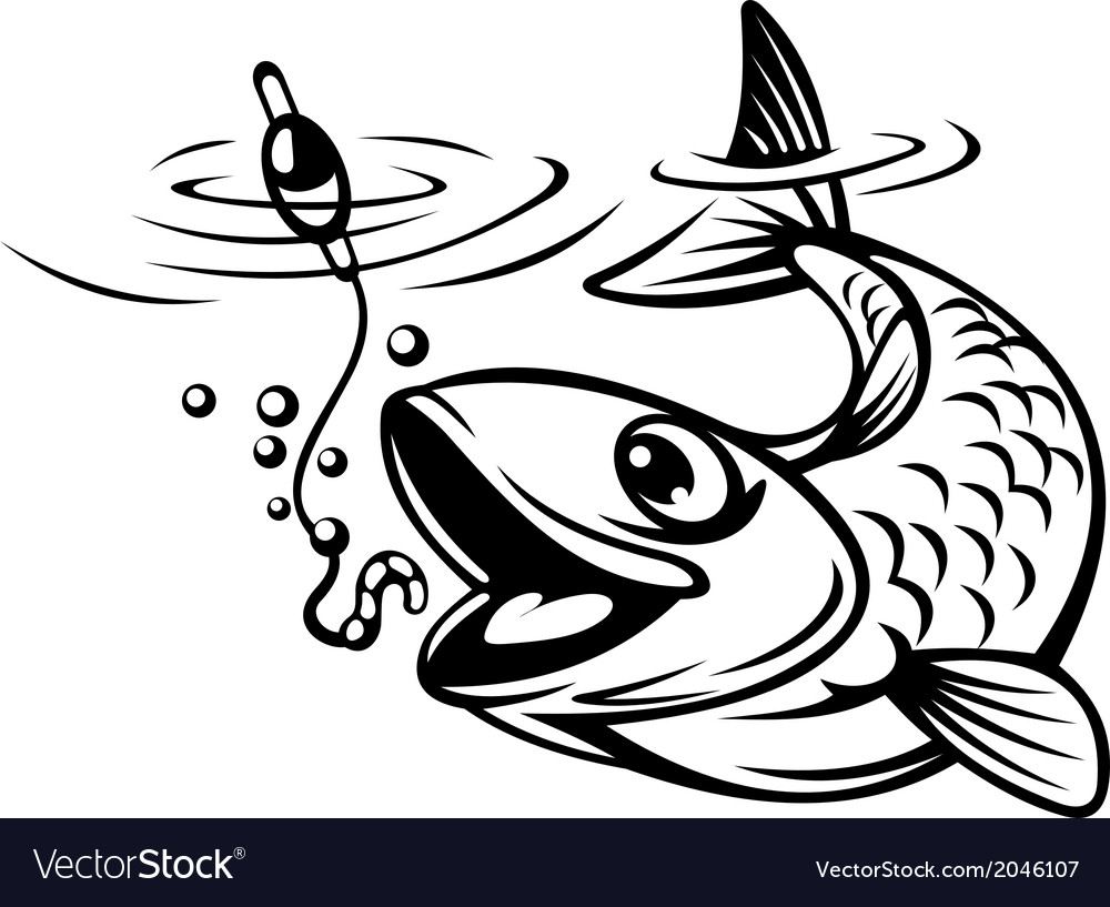 Fish oh hook vector image