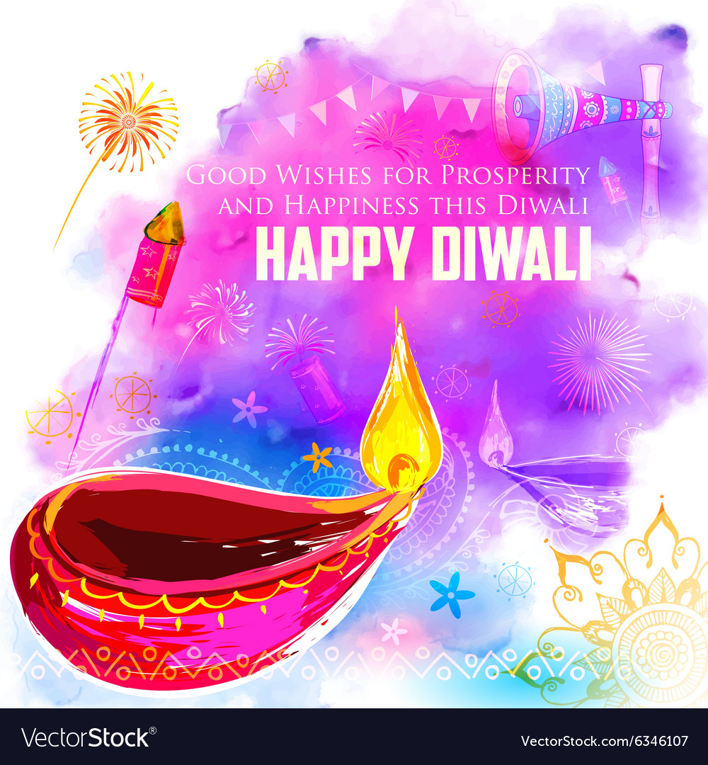 Happy Diwali background coloful with watercolor