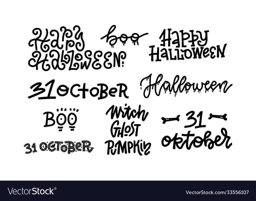 Happy halloween set handmade quotes trendy