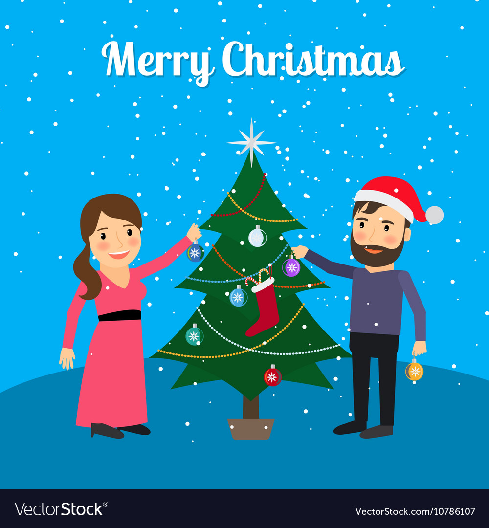 Merry Christmas card with happy couple