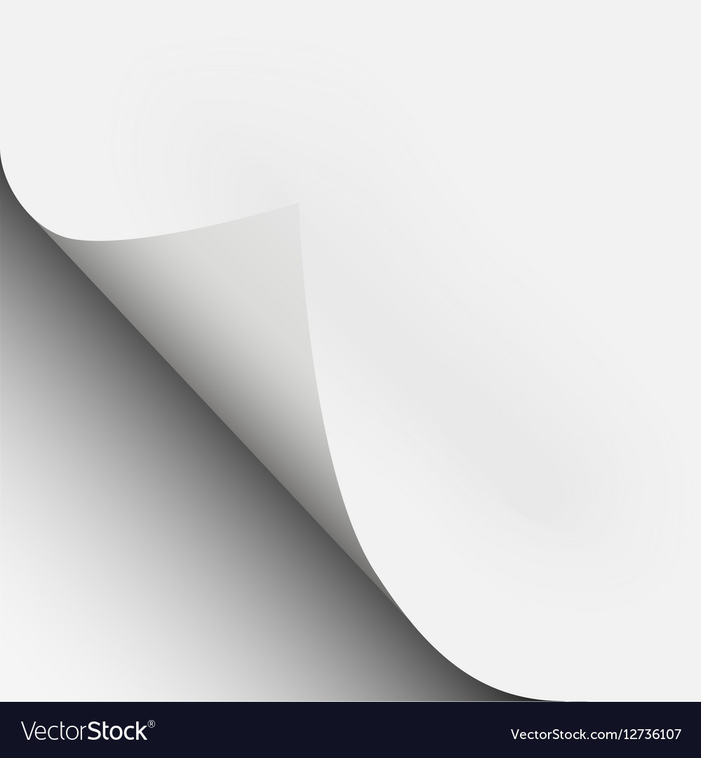 Page curl corner fold with shadow on a blank sheet vector image