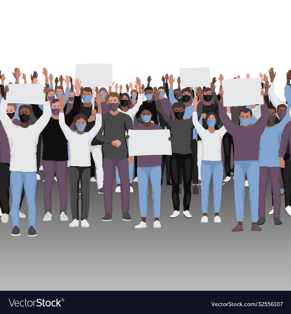 Protesting people with hands up in medical face