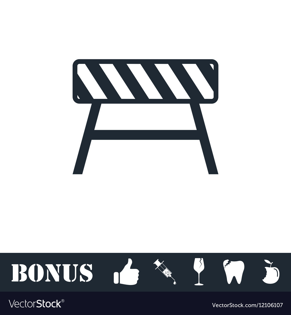 Road barrier icon flat