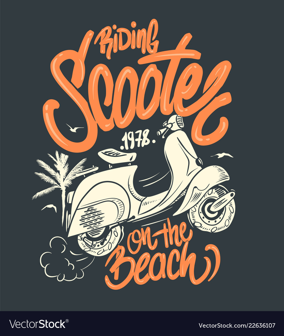 Scooter on the beach hand drawn t-shirt print