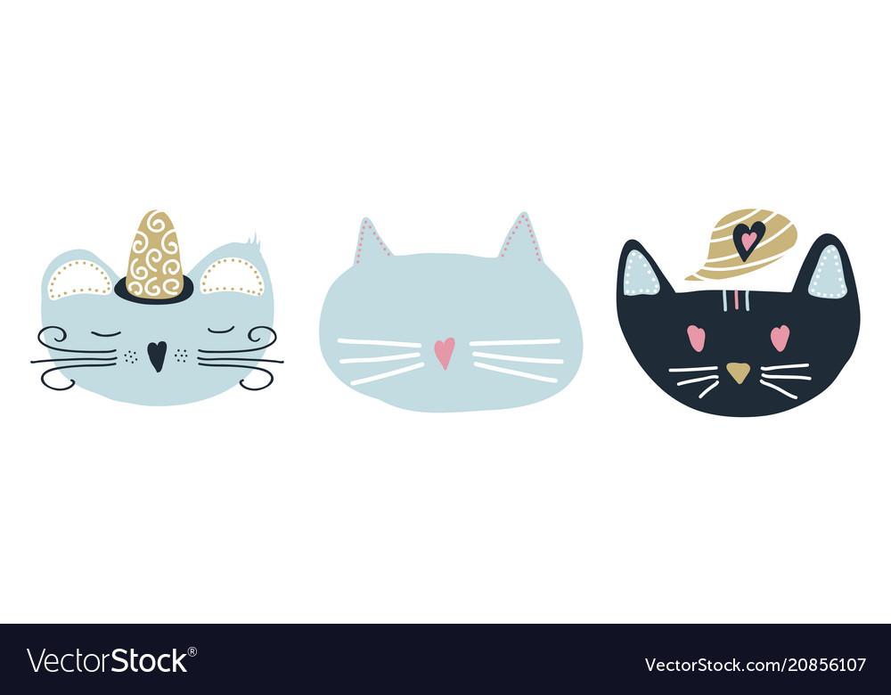 Set of 3 cats in scandinavian