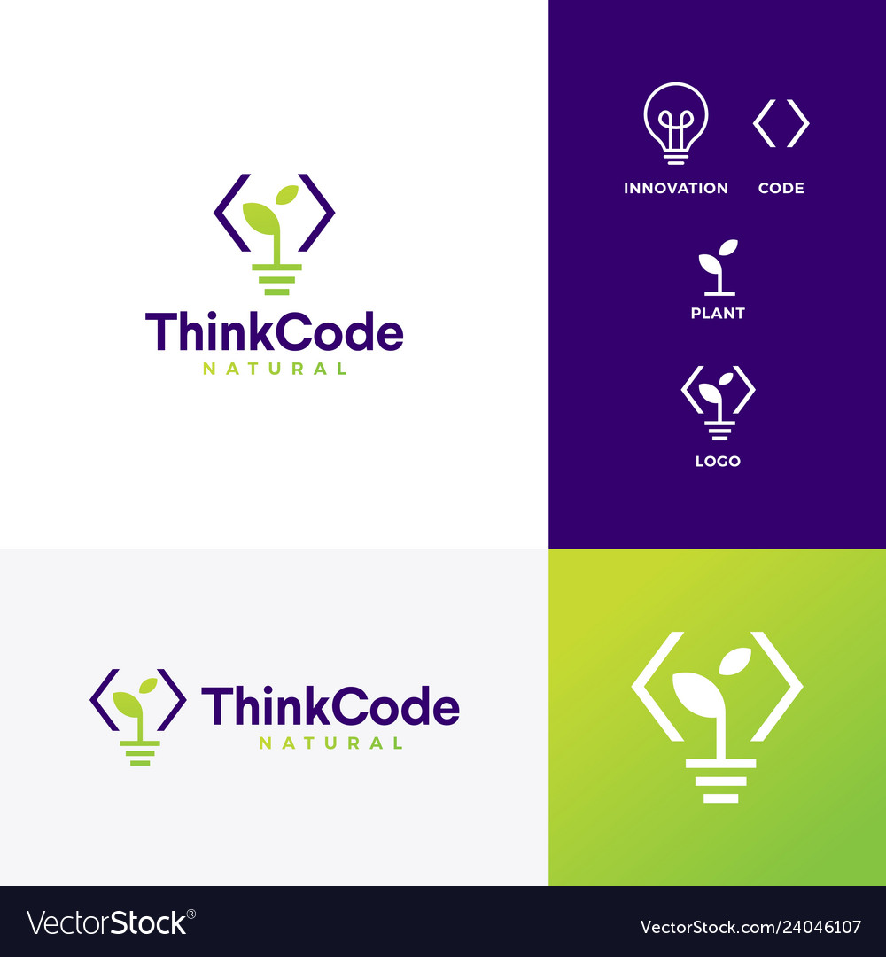 Think code bulb innovation smart logo icon