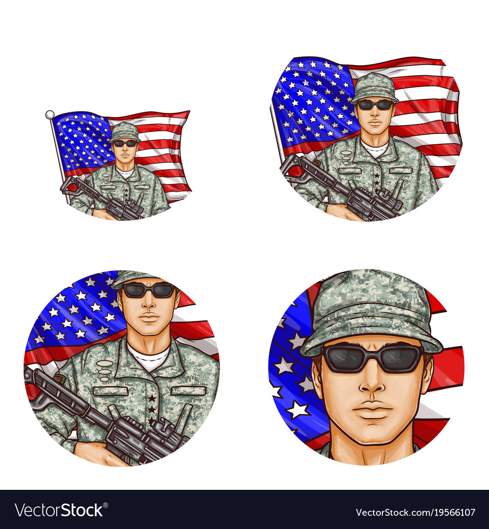 Us flag soldier pop art avatar icons
