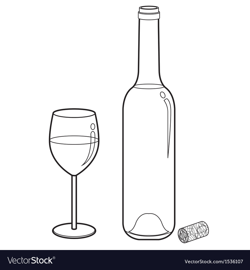 Wine glass and bottle outline vector image