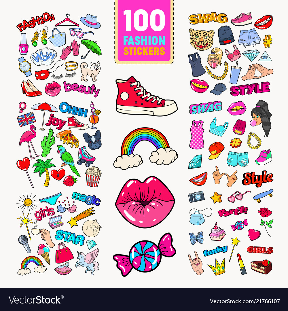 Woman fashion stickers collection with accessories