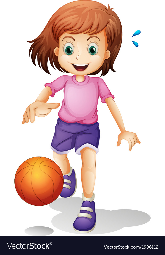 A little girl playing basketball vector image