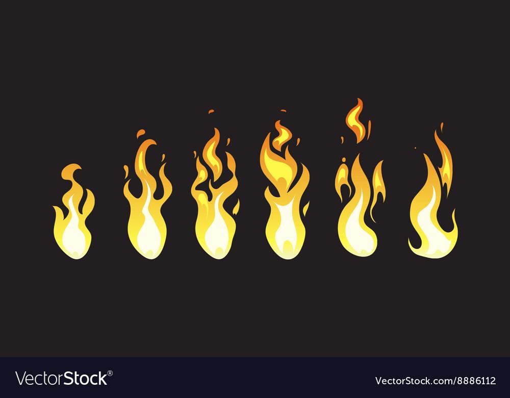 Cartoon comic fire animation frames for Royalty Free Vector